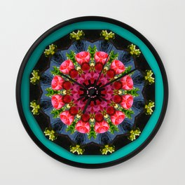 Red blossoms, Floral mandala-style Wall Clock