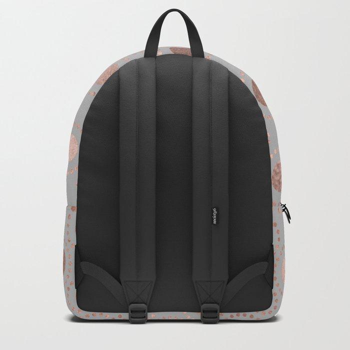 Rosegold simple pink metal foil polkadots on grey background 1 Backpack