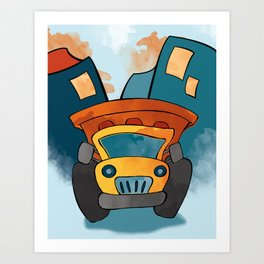 Dump Truck, Construction Truck, Perfect for Child's Bedroom or Kid's Playroom Art Print
