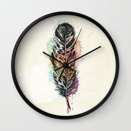 AP096 Watercolor feather Wall Clock