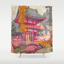Japanese Woodblock Print Vintage Bright East Asian Red Pagoda Spring Garden Shower Curtain