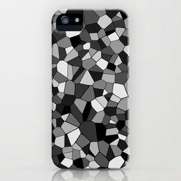 Black And Gray Monochrome Geometric Mosaic Pattern iPhone Case