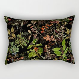 Vintage & Shabby Chic - vintage botanical wildflowers and berries on black Rectangular Pillow