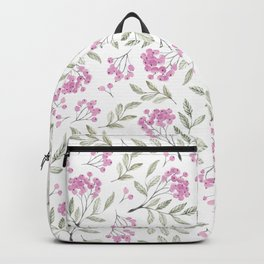 Modern pastel pink green watercolor berries floral Backpack