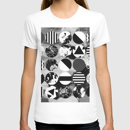 Eclectic Circles - Black and white, abstract, geometric, textured designs T-shirt