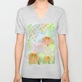Artistic water colour, grunge swirls and daffodils Unisex V-Neck