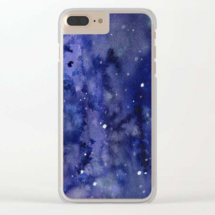 Night Sky Galaxy Nebula Stars Watercolor Space Texture Clear iPhone Case