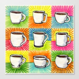 I drew you 9 little mugs of coffee Canvas Print