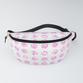 Hot pink white polka dots watercolor leaves Fanny Pack