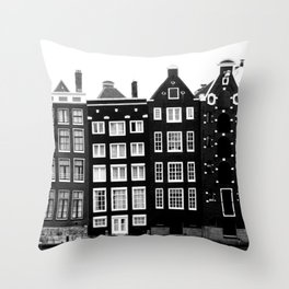 The canal houses of Amsterdam Throw Pillow