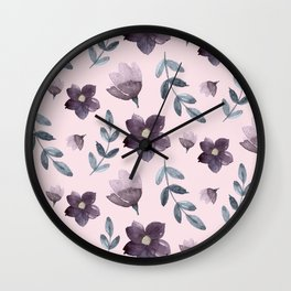 Watercolour Floral Pattern II Wall Clock