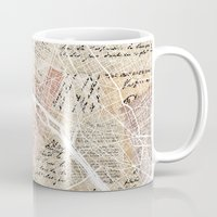 paris map Mugs featuring Paris map by Mapsland