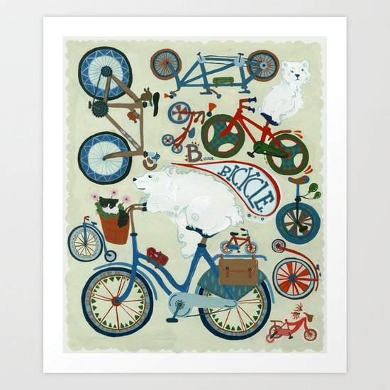 B is for Bicycle! (and polar bears) Art Print
