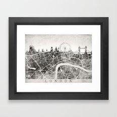 LONDON Skyline + map #3 Framed Art Print
