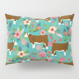 Hereford Cattle breed floral farm homestead gifts cow art florals Pillow Sham