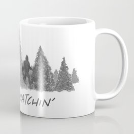 Gone Squatchin' Forest Edition Black and White Coffee Mug