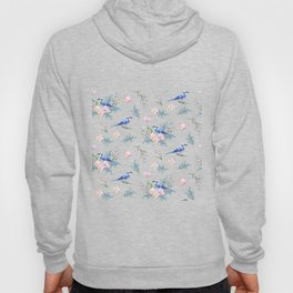Chic Watercolour Blue Jay Spring Flowers Hoody