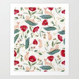 Ramona Poppy off-white Art Print