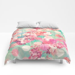 Romantic Pink Retro Floral Pattern Teal Polka Dots Comforters