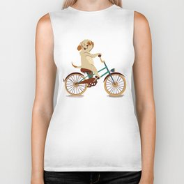 Puppy on the bike Biker Tank