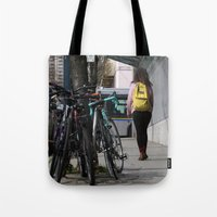 backpack Tote Bags featuring Bikes and backpack by RMK Photography