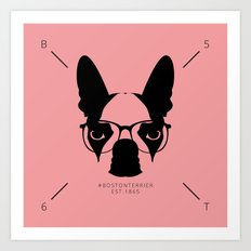 Hipster Boston Terrier Art Print