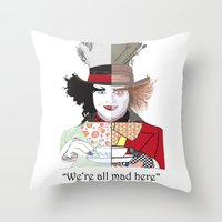 mad hatter Throw Pillows featuring Mad Hatter by Maryamodi