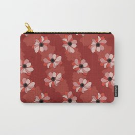 Beautiful red poppies on an elegant dark red background Carry-All Pouch
