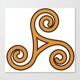 Orange Triskel Canvas Print