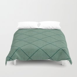 Stitched Diamond Geo Grid in Green Duvet Cover