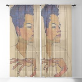 SELF PORTRAIT WITH HANDS ON CHEST - EGON SCHIELE Sheer Curtain