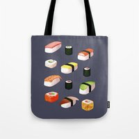 sushi Tote Bags featuring Sushi by Skrich