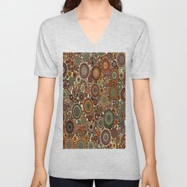 Decorative Circle design in Browns and greens Unisex V-Neck