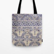 Vintage Wallpaper - hand drawn patterns in navy blue & cream Tote Bag
