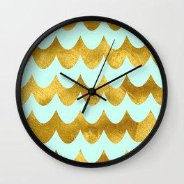 Mint Gold Foil 04 Wall Clock