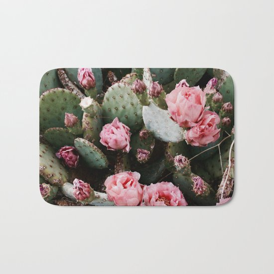 PINK CACTUS FLOWER ABSTRACT CLUSTER PATTERN Bath Mat