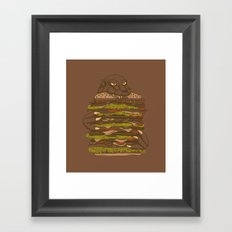Godzilla vs Hamburger Framed Art Print