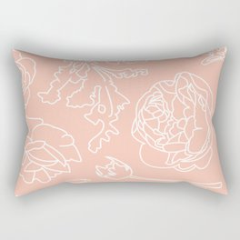 Peony Print (Peach) Rectangular Pillow