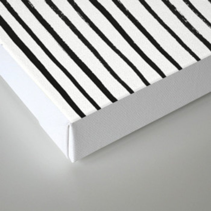 Black Dry Brush Line Pattern (Vertical) Canvas Print