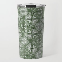 Continuous Flowers Pattern Tessellation in Green Travel Mug