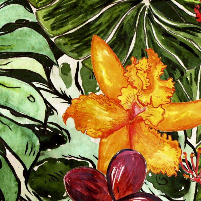 Tropical Vintage Exotic Jungle Flower Flowers - Floral watercolor pattern Leggings