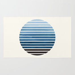 Green Blue Mid Century Modern Minimalist Scandinavian Colorful Stripes Geometric Pattern Round Circl Rug