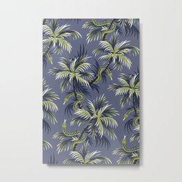 Snake Palms - Light blue/gold Metal Print