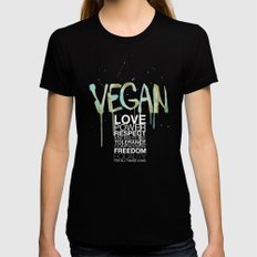 VEGAN Womens Fitted Tee Black SMALL