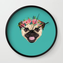 Pug floral crown cute dog with flowers pugs pet portrait dog breed Wall Clock