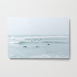 Tiny Surfers Lima, Peru Metal Print