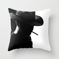 cowboy Throw Pillows featuring Cowboy by Faruk Taşdemir