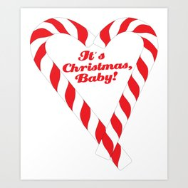 Candy Cane - It's Christmas, Baby! #xmas #christmas #minimal #love #design Art Print