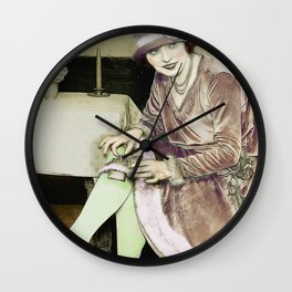 Vintage Woman With Hip Flask Wall Clock