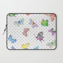 Colorful pink teal watercolor hand painted butterfly polka dots Laptop Sleeve